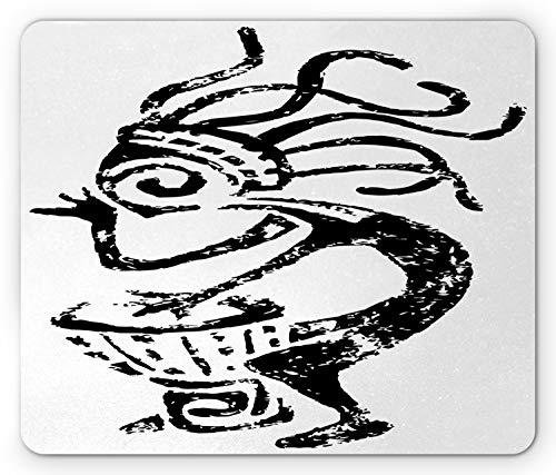 Ambesonne Kokopelli Mouse Pad, Grunge Style Cave Motif Look Monochrome Playing Darbuka Pattern, Rectangle Non-Slip Rubber Mousepad, Standard Size, Charcoal Grey White