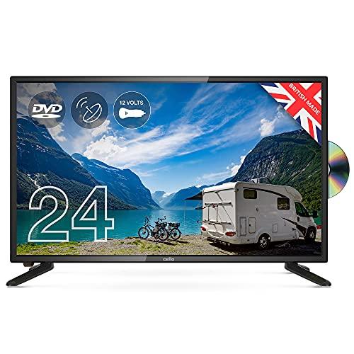 "Cello 12 Volt 24"" ZSF0242-12V TV LED TV/DVD HD Ready and Built In Satellite 2020 Model Made In The UK (New 2020 Model),Black"