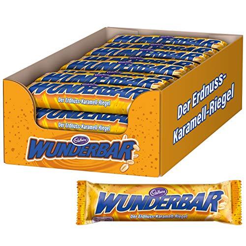 WUNDERBAR Peanut 24 x 49g, Einzeln verpackte Erdnuss-Karamell-Riegel mit knackigen Erdnusstückchen