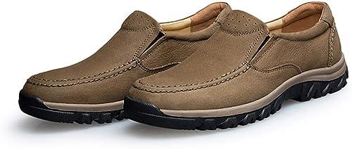 Yajie-chaussures, Mode pour Hommes Décontracté Confortable Oxford Faible Top Simple Slip Couleur Pure sur Chaussures Formelles (Couleur   Kaki, Taille   46 EU)