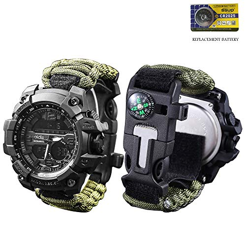 vikano Gifts for Men Dad Husband Fathers Day, Survival Bracelet Watch, Men & Women Emergency Survival Watch with Paracord/Whistle/Fire Starter/Scraper/Compass and Thermometer, Outdoor Gear