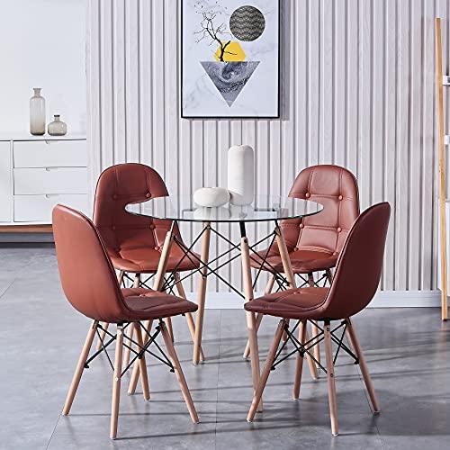 GrandCA HOME Esstisch mit 4 Stühlen Schminktisch Küchentisch Wohnzimmertisch Round Tisch Set für Küche Büro Restaurant-Rot