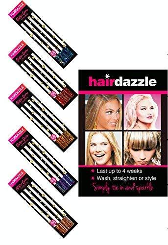 Hair Dazzle, Salon Pro Lot de 500 extensions scintillantes pour cheveux professionnels de 101,6 cm (or, argent, bronze, arc-en-ciel, mélange de sirène)