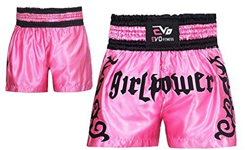Evo Damen Muay Thai Wettkampfhose MMA Kickboxen Ringen Kriegerisch Arts Ausrüstung UFC Mädchen - Rosa, X-Large