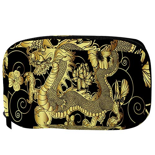 TIZORAX Cosmetic Bags Chinese Golden Dragon With Flower Handy Toiletry Travel Bag Organizer Makeup Pouch for Women Girls
