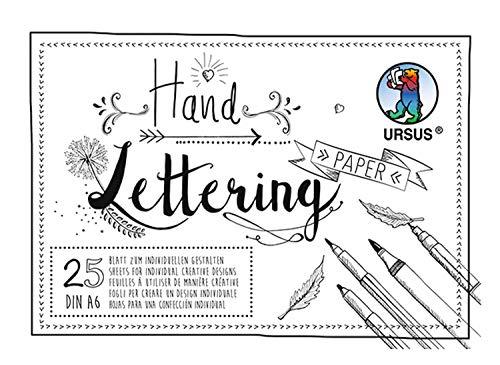 URSUS 24926401 Handlettering Paper, Block mit 25 Blatt Tonkarton 200 g/qm DIN A6, zum individuellen Gestalten, weiß