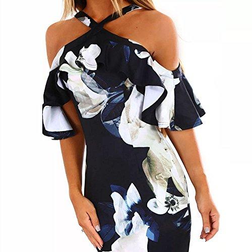 Damen Kleider Sommer Ronamick Frauen drucken Kreuz ab Schulter Kleid Abend Party Kleid Sommerkleid Kleid Abendkleid cocktailkleider Petticoat(L, Marine)