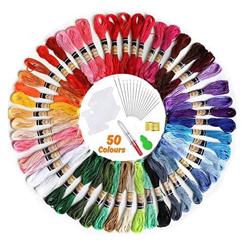50 Madejas-Hilos de Bordado, elloLife Bordado Kit con 12 Tablero Blanco de la Bobina para Organizar Hilos Punto Cruz Hacer Pulsera de la Amistad Punto de Manualidades Costura, Colores Arco Iris