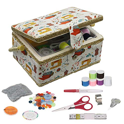 Sewing Basket - Sewing Basket Organizer with Handle & Insert Tray and Sewing Kit Accessories -...