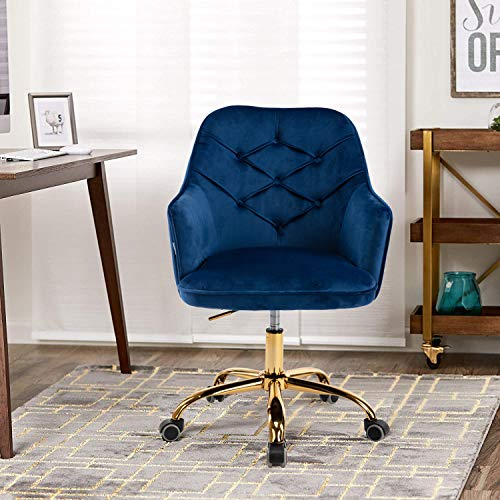 Modern Desk Chair, Velvet Swivel Chairs, Adjustable Armchair with Casters for Office, Makeup Chair with Button Tufted for Bedroom, Navy Blue