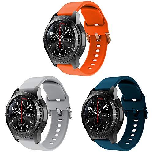 YPSNH Compatible para Samsung Gear S3 Correa 22mm Reemplazo de Silicona Correa Deportiva para Samsung Gear S3 Frontier / S3 Classic/Galaxy Watch 46mm / Huawei Watch GT 46mm / Ticwatch Pro