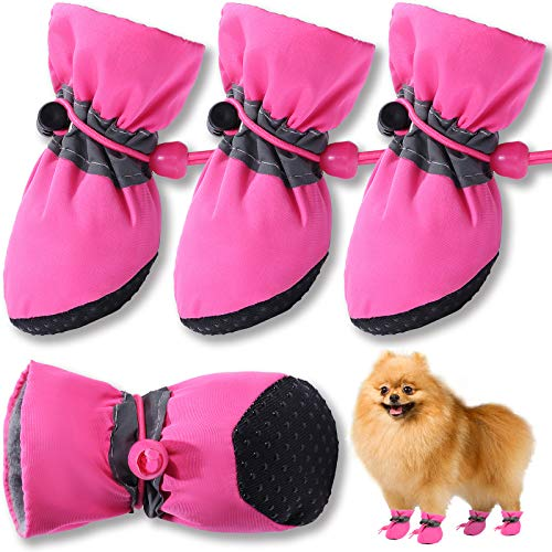 HOOLAVA Dog Shoes Anti-Slip Dog Boots, Dog Booties with Reflective Straps for Small Medium Dogs, Paw Protectors for Hot Pavement|Summer|Winter|Snow...