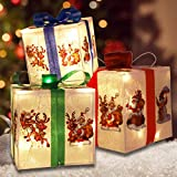 MorTime Set of 3 Lighted Boxes with Bows, Santa Claus Reindeer Snowman PVE Boxes...