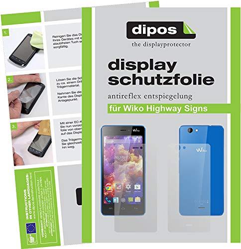 dipos I 6X Schutzfolie matt kompatibel mit Wiko Highway Signs Folie Bildschirmschutzfolie (3X Vorder- und 3X Rückseite)