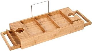 HEMFV バスタブキャディトレイ 木製バスタブトレイ ワイングラスホルダー付き ブックホルダー 拡張可能な木製棚 バスタブ上オーガナイザー ギフトアイテム バスアクセサリー