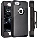 FOGEEK iPhone 6 Case, Heavy Duty PC for iPhone 6/6S w/ 360 Degree Rotary Belt Clip & Kickstand (Black)
