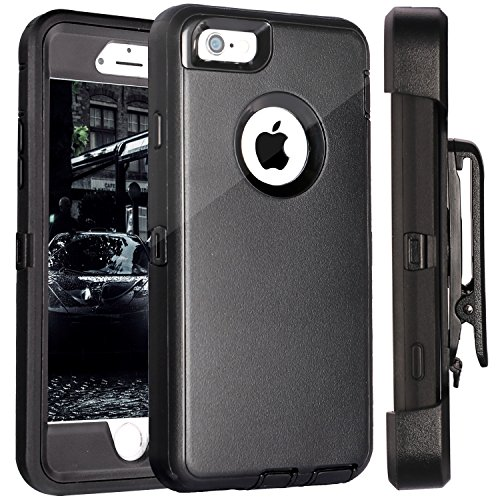 iPhone 6S Plus Case,FOGEEK Protective Case Heavy Duty Cover Compatible for iPhone 6 Plus & iPhone 6S Plus 5.5 inch 360 Degree Rotary Belt Clip & Kickstand (Black)