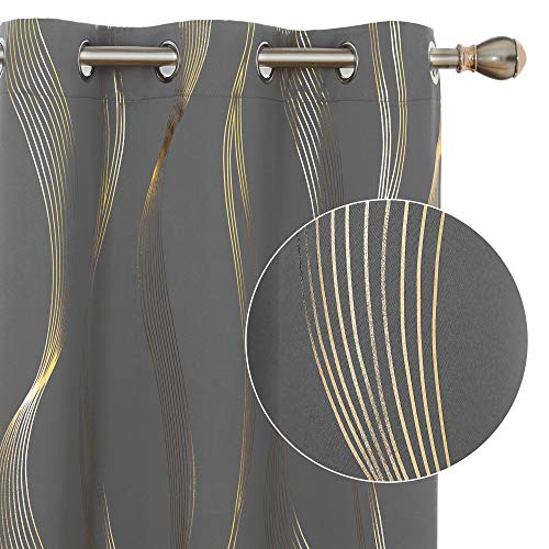 Deconovo Blackout Curtains, Room Darkening Curtains, Golden Foil Print Wave Thermal Insulated Bedroom Curtains, 2 Panels, 42x72 Inch, Dark Grey