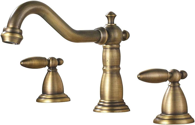YGoldOW 2-Griff-Kupfer-Badezimmer Verbreitet Becken Wasserhahn 3 Lcher Küchenspüle Antiken Mischbatterie,Brass