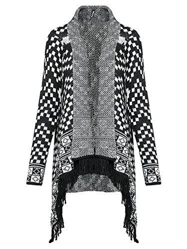 Madonna Damen Strickjacke Cardigan Langarmshirt Pullover Strickmantel (M/L, Schwarz-Weiß)