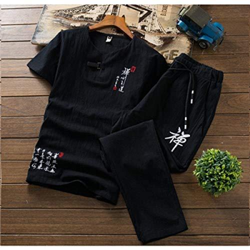 T-Shirt à Manches Courtes brodé Hommes et Cordon de Serrage Pantalons 5 Couleurs Peut-il Choisir Mouvement d'été Leisure Suit Hommes Hyococ (Color : Black, Size : XL)