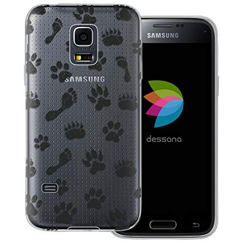 dessana Semoss - Cover protettiva trasparente per Samsung Galaxy S5 Mini, motivo: zampe di cane e orsetto lupo