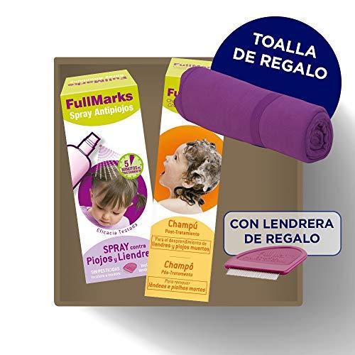 Fullmarks Spray Antipiojos y Liendres 150ml + Campú Post-Tratamiento 150ml + Toalla y Lendrera de Regalo