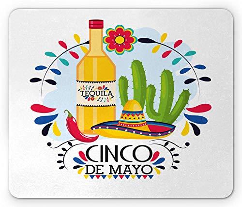 Mausemat Cinco De Mayo Mexikanische Illustration Mit Buntem Tequila-Kaktus Und Sombrero-Hut-Rechteck Bequemes Mousepad-Mausmatten-Computerspiel Angepasstes Personalisiertes Rutsch