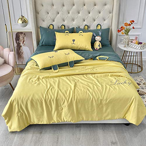 XNSY Blanket Washed silk summer is air-conditioned thin quilt silky-2.0X2.3M_yellow