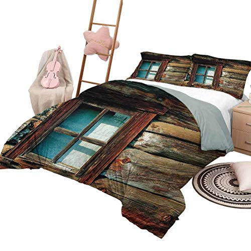 Juego de ropa de cama de 3 piezas, colcha de paisaje, para todas las estaciones, ventana individual con cortina blanca sobre un fondo de madera, foto de la casa de leñadores, tamaño completo, marrón y