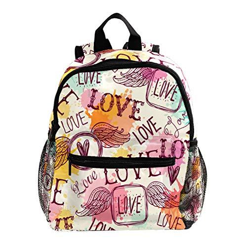 Mochila escolar para niños, mochila escolar, diseño de letra de amor, color rojo