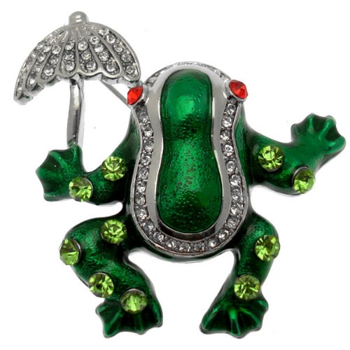Acosta broches–Esmalte Verde y Cristal Broche Rana con Paraguas (Tono Plateado)–Caja de Regalo