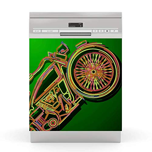 wodtke-werbetechnik Spülmaschinen Aufkleber Motorrad grün