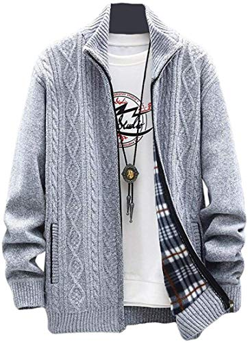 BKWL Mens Plus Size Stand Collar Cable Knit Open Front Cardigan Sweater Coat,Light Grey,Small