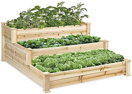 Bandeja Semillas Camas de jardín elevadas para verduras Macetero de verduras de combinación estéreo de 3 capas, antiséptico de madera para verduras, utilizado en plantas de...