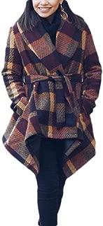 Macondoo Women's Mid Long Fashion Lapel Coat Jacket Plaid Woollens Overcoat
