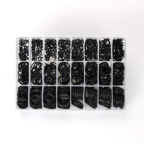 770pcs Rubber O Ring Assortment Kits 24 Sizes Sealing Gasket Washer Made of Nitrile Rubber NBR for Car Auto Vehicle Repair, Professional Plumbing, Air or Gas Connections