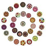 SNAGAROG 200 botones de madera redondos de colores con 2 agujeros vintage botones de costura, botones de costura para manualidades, scrapbooking o decoración