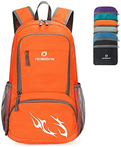 FENGDONG 35L Lightweight Waterproof Packable Travel Hiking Backpack Daypack for men women Orange product image