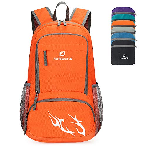 FENGDONG 35L Lightweight Foldable Waterproof Packable Travel Hiking Backpack Daypack for men women Orange