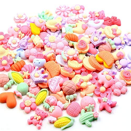 100 pegatinas de resina de dibujos animados de color rosa, accesorios florales de resina de goma esmerilada, joyería para niños