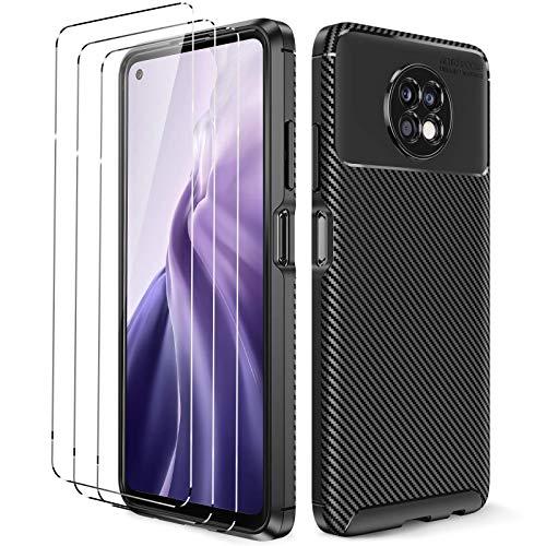 Oududianzi - Funda para Xiaomi Redmi Note 9T + [3X Protectores de Pantalla in Cristal Templado], [Textura de Fibra de Carbono] Carcasa Protectora de Silicona de TPU Ultrafino -Negro