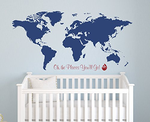 World Map Wall Decal Oh the You'll Nursery Places Deca Go online shopping Max 59% OFF -