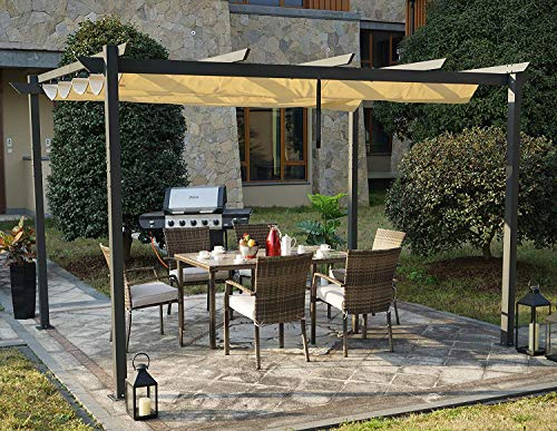 Kozyard Morgan Outdoor 10'x13' Extra Large BBQ Grill Pergola with Sun Shade Gazebo Canopy Beige Canopy,UV Resistant Fabric,