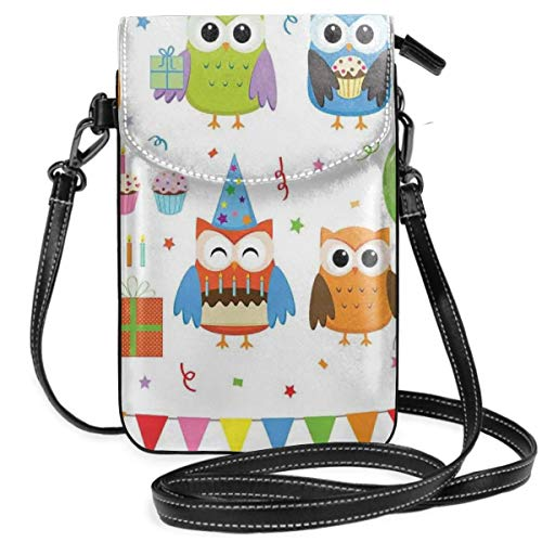 Jiger Women Small Cell Phone Purse Crossbody,Woodland Birthday Party With Hat Wearing Birds On Festive Stars And Confetti Background