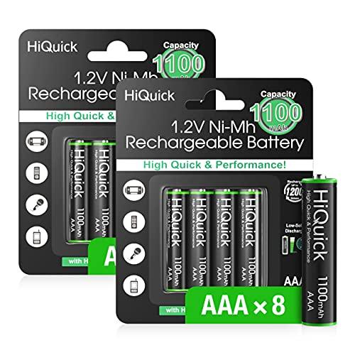 HiQuick AAA Akku, Micro AAA NI-MH 1100mAh, wiederaufladbare AAA Batterien 1,200 Zyklen, geringe Selbstentladung mit Staubkasten, Verkaufsverpackung und 8 Stück