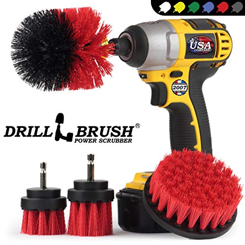 Drill Brush - Power Scrub Brush Kit - Remove Algae, Mold, Mildew, and Moss - Concrete Pools, Bird Baths, Garden Fountains, Statues- Monuments and Headstones - Rust, Calcium and Hard Water Stains