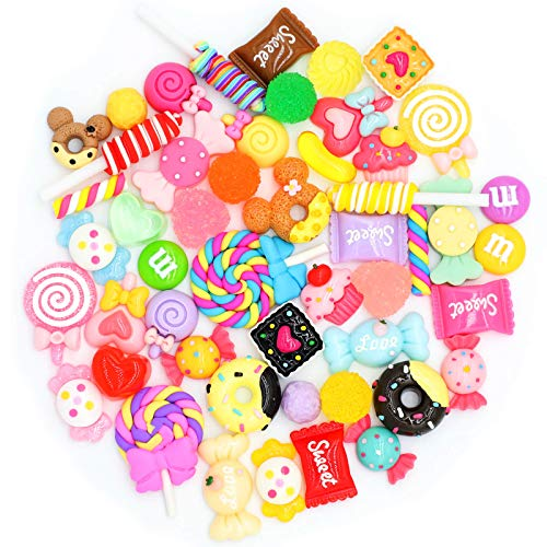 50 Pieces Assorted Kawaii Candy Sweet Charms for Crafts, Slime Beads and Charms, DIY Flatback Resin, Candy Set Ornaments by FENGWANGLI