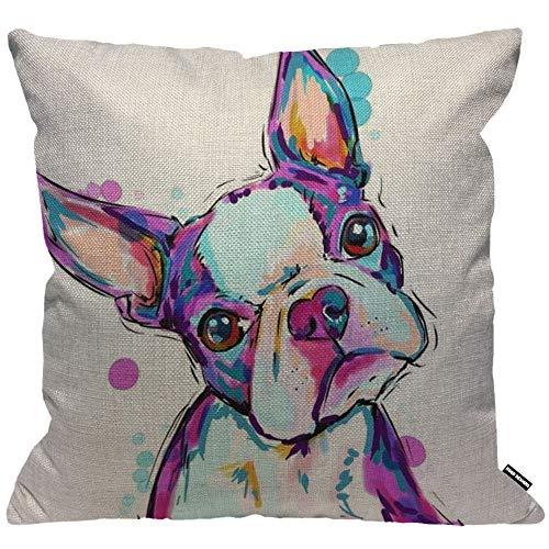 Funda de cojín HGOD Designs, diseño de perro Boston Terrier acuarela, funda de almohada decorativa para el hogar para hombres y mujeres, sala de estar, dormitorio, sofá, silla de 45 x 45 cm