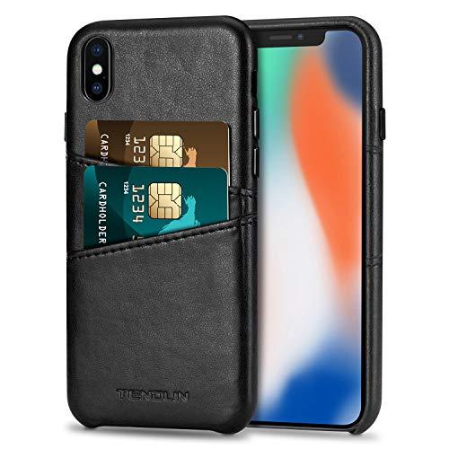 TENDLIN Cover iPhone XS/Cover iPhone X Custodia Portafoglio in Pelle Premium con 2 Slot per Titolare della Carta Compatibile con iPhone XS e iPhone X (Nero)